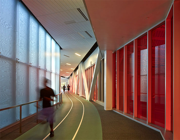 Track-and-field-inspired hallways